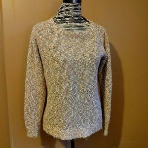 Buffalo David Button fuzzy knit crew neck sweater
